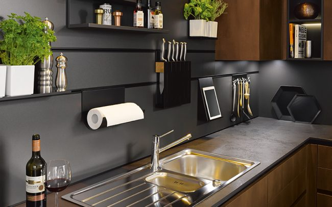 German Kitchens Cardiff - Wall Panel with Integrated Hanging Rail