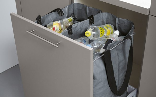 german kitchens cardiff - utility rooms - pull out recycling bin