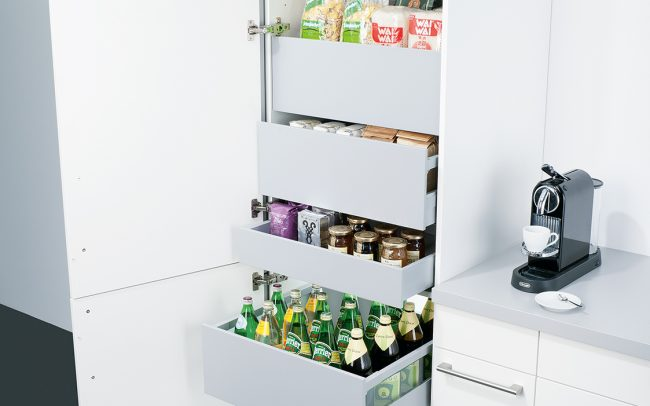 Schuller German Kitchens - Storage Solutions - Pull Out Storage - larder with pull out drawers
