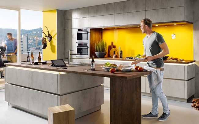 Schüller Uni Matt Kitchen · Schüller Elba Concrete Effect Kitchens    Handleless Design