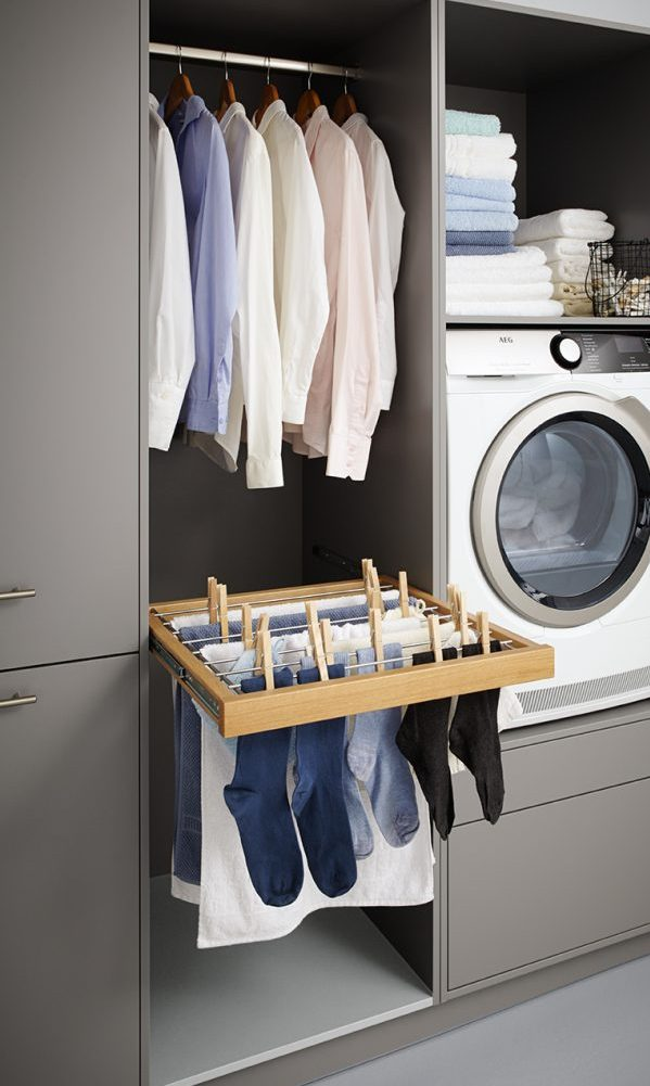 german kitchens cardiff - utility rooms - pull out laundry