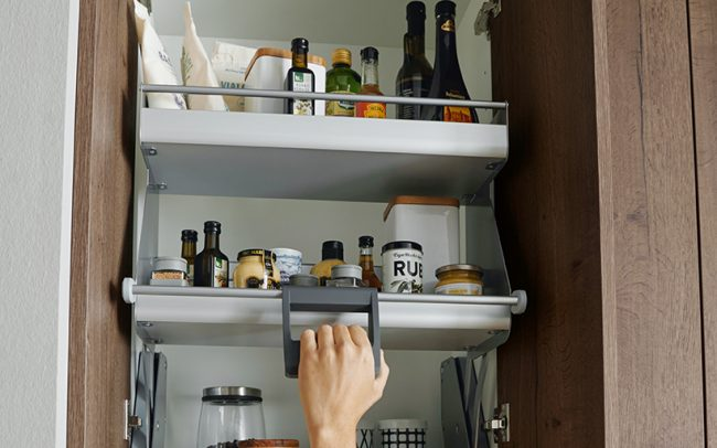 German Kitchens Cardiff - Pull Down Wall Unit Shelving