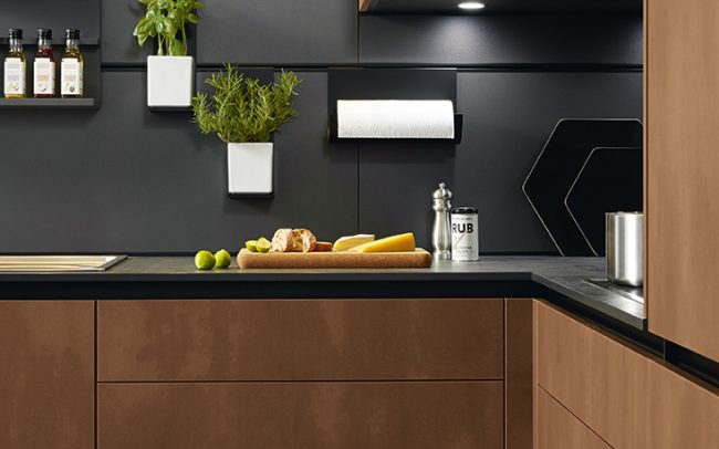 Lava Black Wall Panelling with Integrated Rail - Schuller Kitchens Cardiff - Schuller Kitchens Cardiff