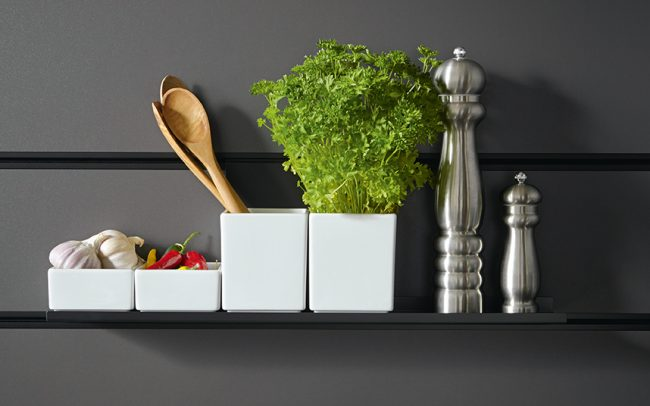 Large Onyx Black Shelf with China Bowls - Schuller Kitchens Cardiff - Schuller Kitchens Cardiff