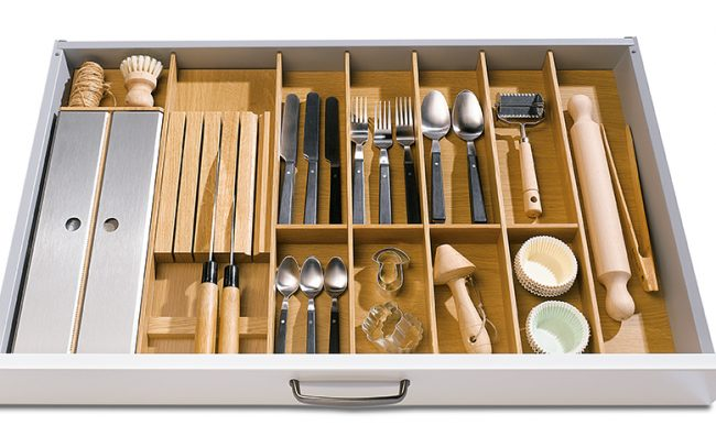 Schuller German Kitchens Cardiff - Insert for Cutlery and Knife Block - Natural Oak