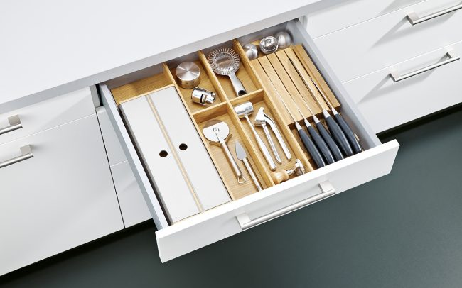 Schuller German Kitchens Cardiff - Insert for Cutlery with Film & Foil Dispenser - Natural Oak